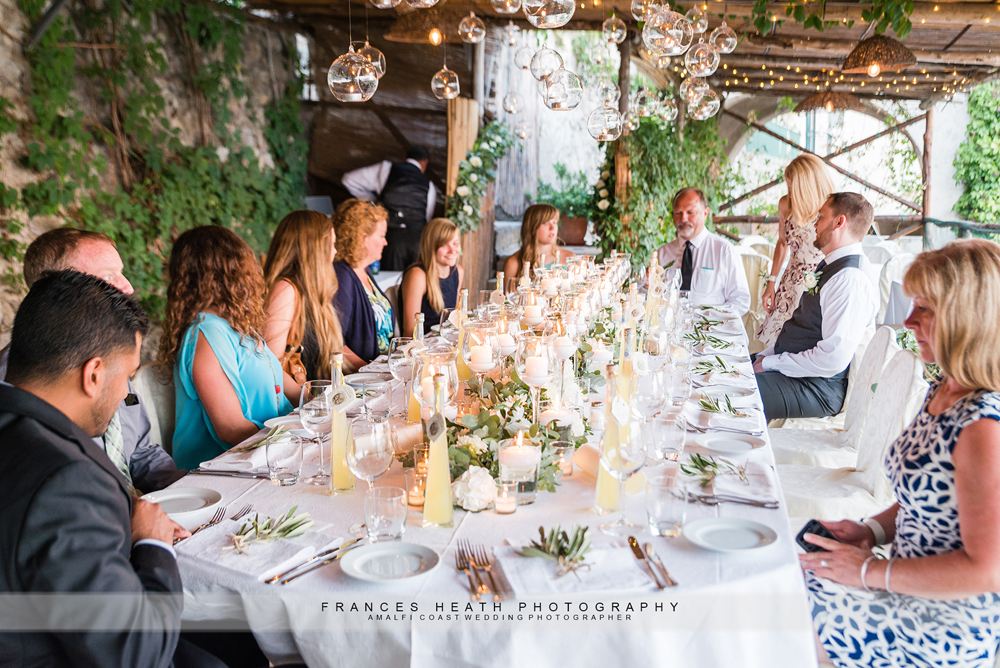 Rustic wedding reception in Ravello