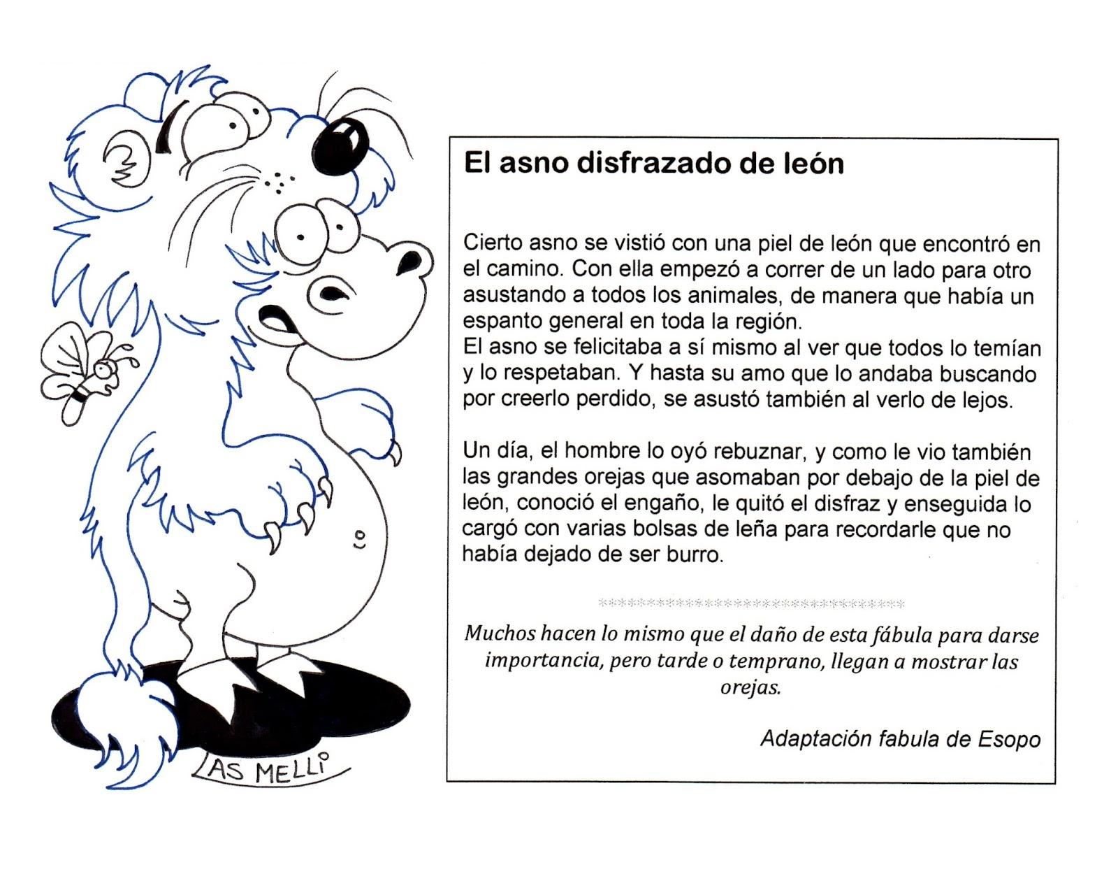El Rincón de las Melli: FÁBULA: El asno disfrazado de león (para ...