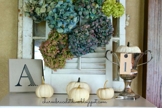 dried hydrangeas vintage shutter fall display