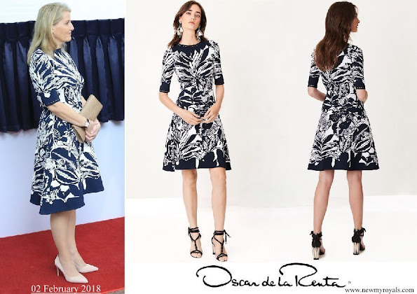 The Countess of Wessex wore Oscar de la Renta navy floral jacquard knit dress
