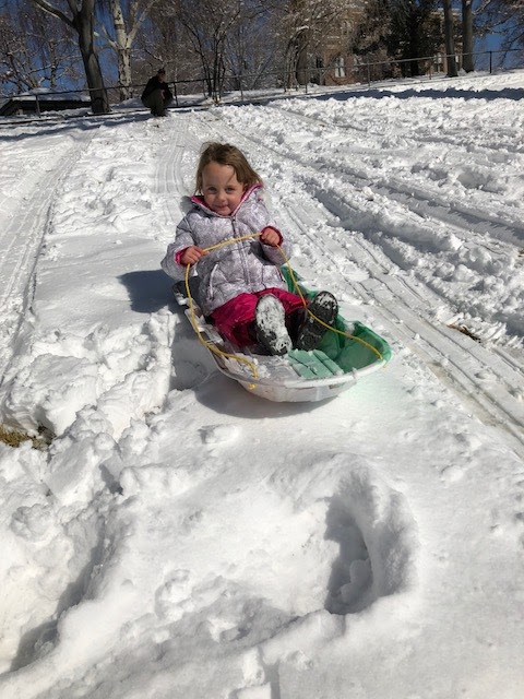 toddler sledding