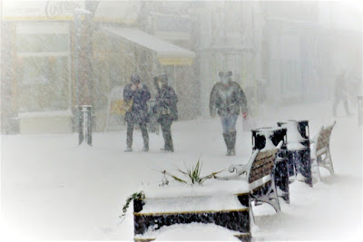 Picture: Blizzard conditions in Brigg town centre as shoppers trudge through a snow shower caused by The Beast from the East weather storm in 2018 - used on Nigel Fisher's Brigg Blog