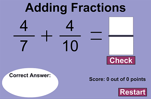 Adding fractions - Unlike denominators game
