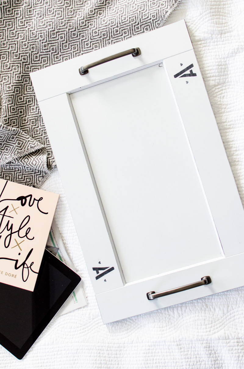 DIY Tray upcycled from a cabinet door and personalized with a monogram