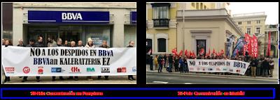 Concentracións en Pamplona e Madrid contra os despedimentos en BBVA