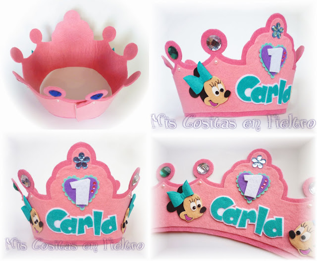 corona de cumpleaños, niños, corona de fieltro, fiesta, felt crown, coroa, feltro, aniversario, minnie mouse