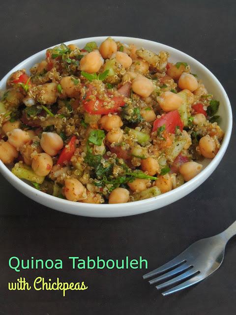 Quinoa Chickpeas Tabbouleh Salad, Quinoa tabbouleh with chickpeas