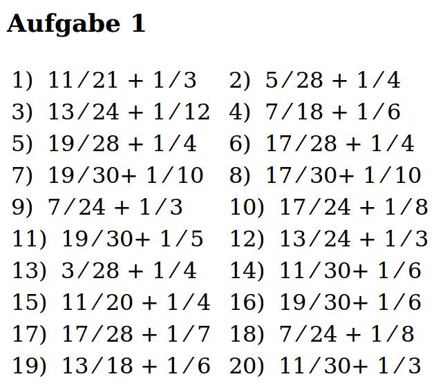 Mathe ist einfach: Brüche addieren Blatt 1