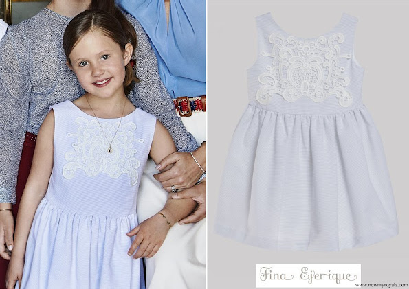 Princess Josephine wore a striped light blue dress with guipure, from the Spring Summer collection of Fina Ejerique