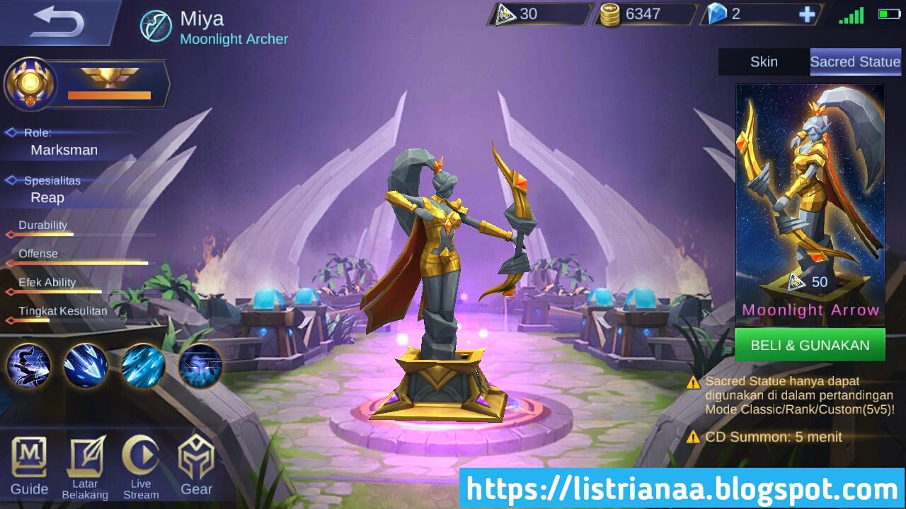 Update Terbaru Sekarang Kamu Suda Bisa Membeli Sacred Statue Miya Mobile legends 5