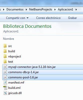 Archivos .jar en la carpeta de nuestro proyecto