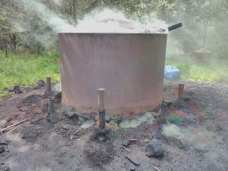 Charcoal kiln smokes like a squat old pagan god