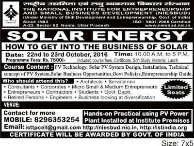 Niesbud Entrepreneurship Development Program On Solar