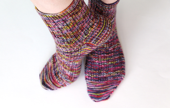 Hand Knit Wool Socks in Twin Rib Pattern on Feet