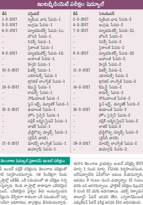 Manabadi AP Inter 1st Year Time Table 2017