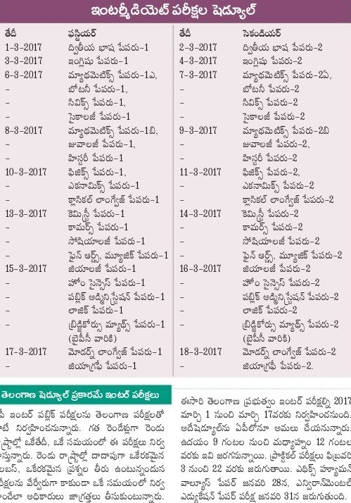 Manabadi AP 2nd Year Time Table 2017
