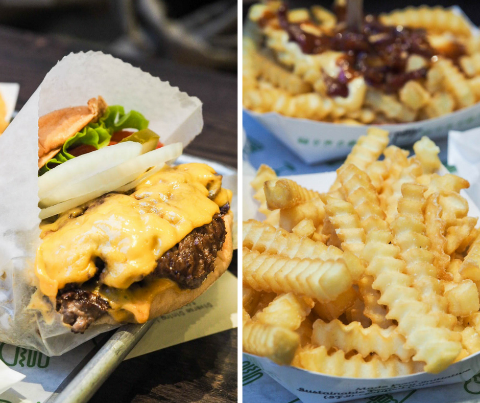 Shake Shack double cheeseburger and fries