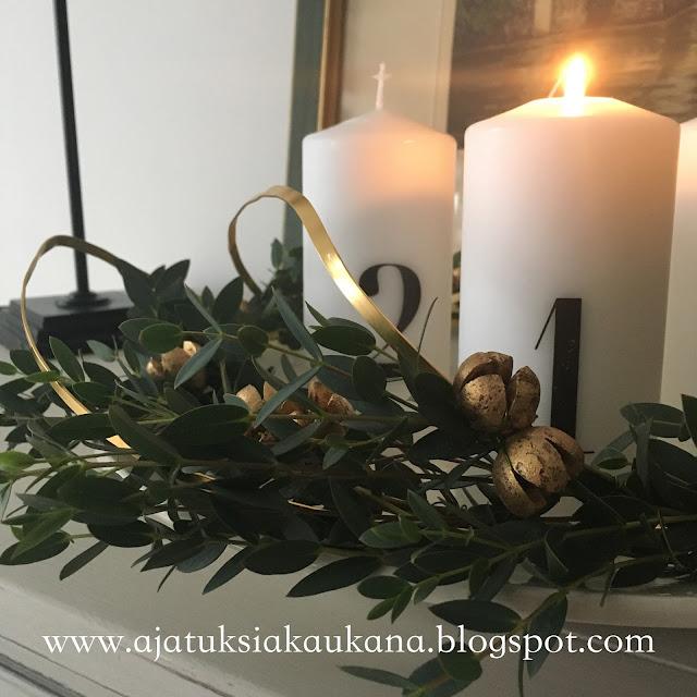 adventtikynttelikkö, ikea, alumiininauha, eukalyptus, kranssi, joulu, adventtisunnuntai