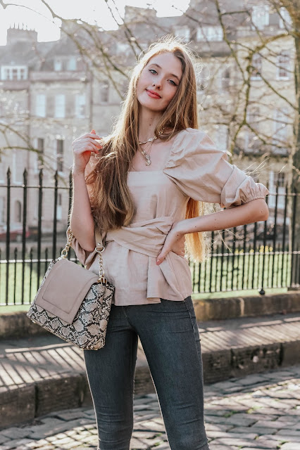 cute beige square neck peplum blouse