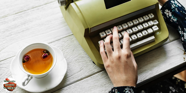 "Featured in the article: ""How To Get Inspiration For Creative Writing: 7 Tips & Techniques"", Typing machine, tea, creativity, writing, ideas, flow, creative stories"