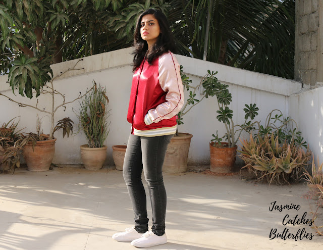 Rosegal Wine Red Autumn Lurex Color Block Baseball Jacket