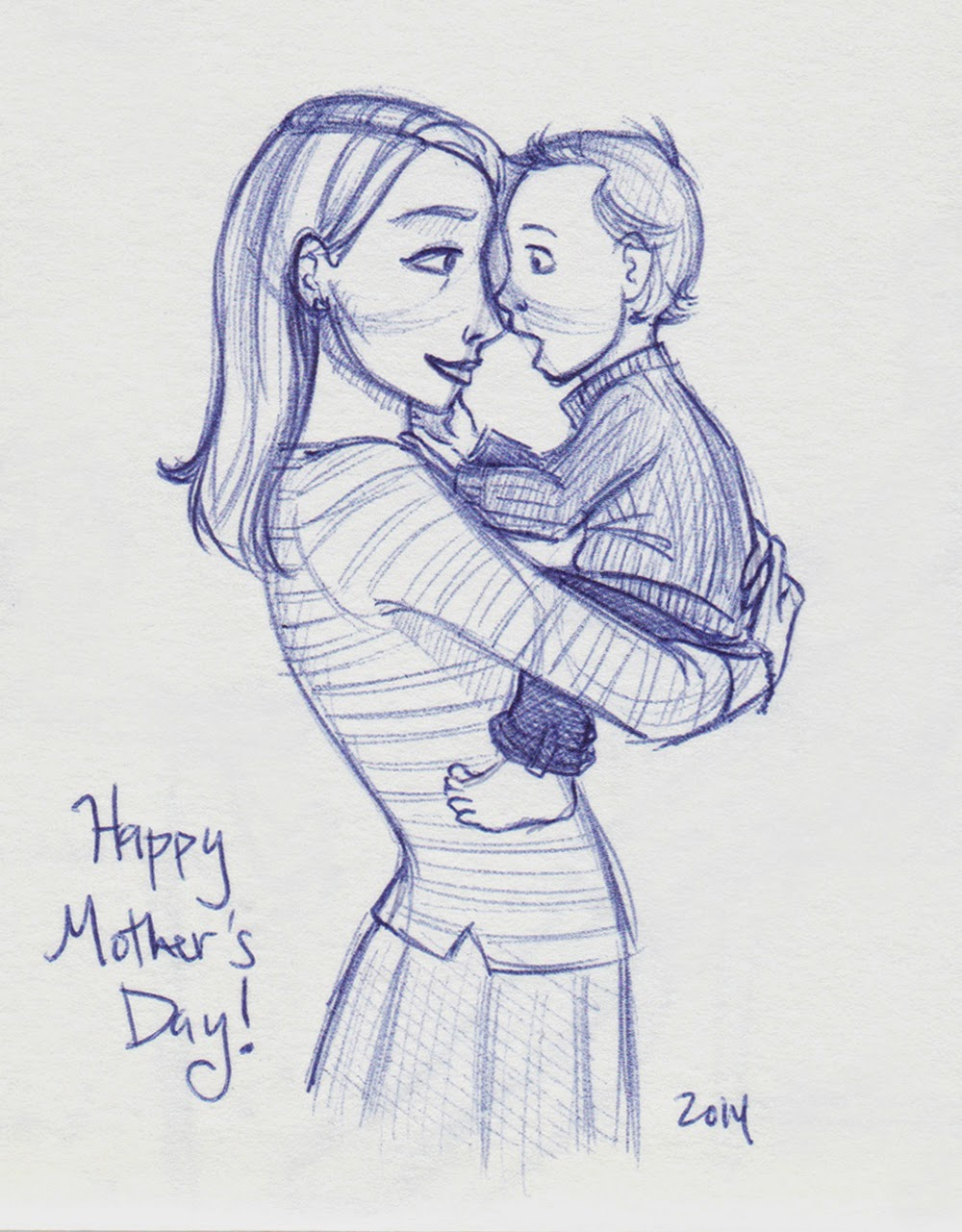 My mothers day inspired sketchbook entry last sunday oh these two the boy has lately taken to turning his head to kiss your nose if you put it