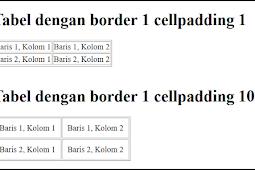 Cara membuat tabel di HTML Atribut border, Cellpadding