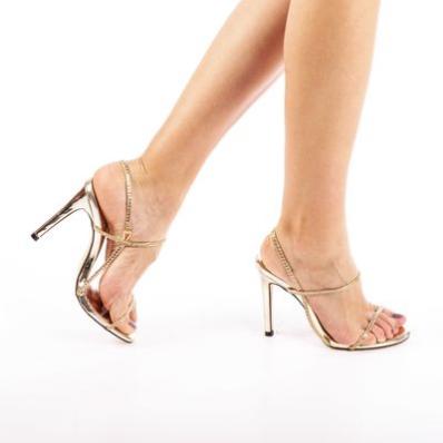 Sandale cu toc dama Stella aurii