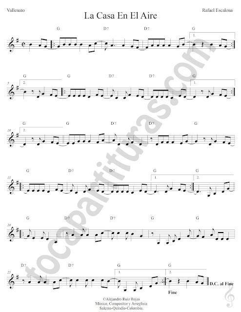 La Casa en el Aire Vallenato de Rafael Escalona Partitura Fácil con Acordes La Casa en el Aire Sheet Music with Chords