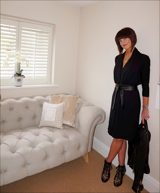 My Midlife Fashion, Hope Fashion kimono dress, chloe susanna studded boots, zara leather biker jacket, leather wrap tie belt