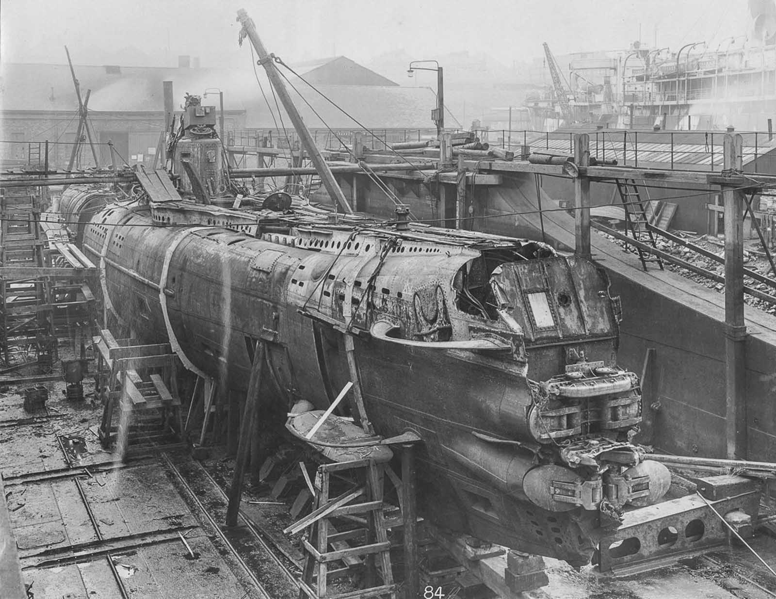 U-Boat 110 in dry dock.