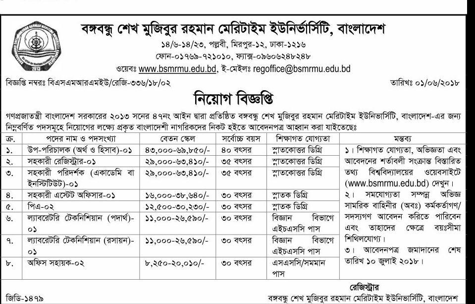 BSMRMU - Bangabandhu Sheikh Mujibur Rahman Maritime University  Job Circular 2018