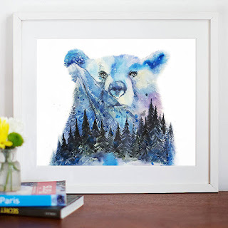 Northern Lights Mountains and Forest Colorful Bright Wall Art
