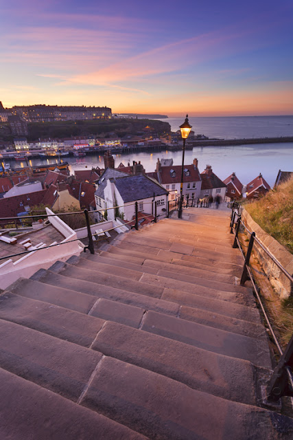 Sunset photograph of the 199 steps in Whitby North Yorkshire by Martyn Ferry Photography