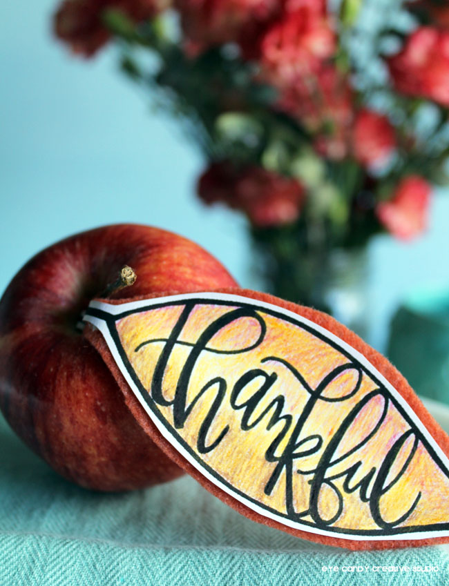 apple leaf, fall placecard idea, fall tablescape, fall table decor, lettering
