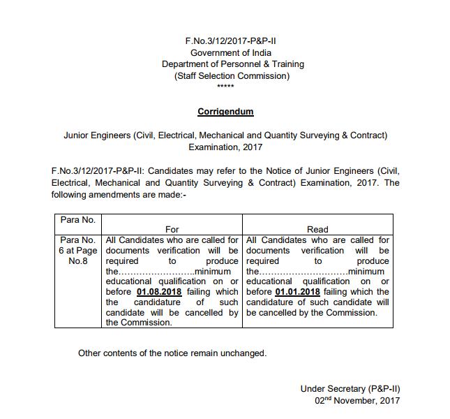 SSC Junior Engineer 2017 Exam Corrigendum Notice PDF Download