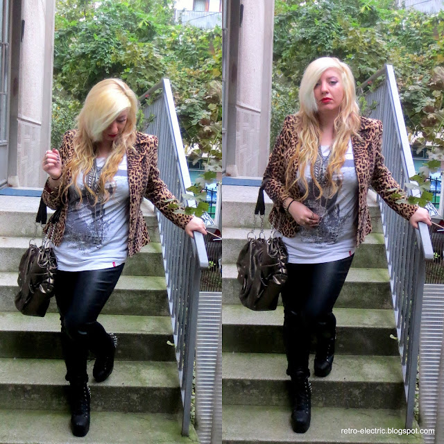 leather & leopard, glam rock, blonde girl