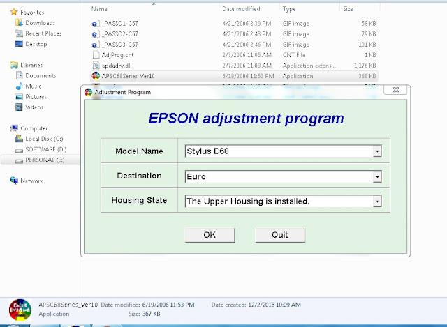 Resetter Epson Stylus D68