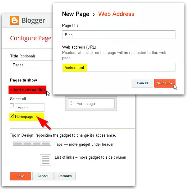 Link created homepage and your blog's index page in blogger's tab widget via geniushowto.blogspot.com how to create a homepage for blogger blog step 4