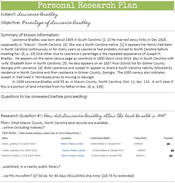 genealogy research plan example
