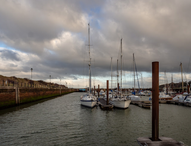Photo of cool, cloudy conditions at Maryport Marina on Tuesday