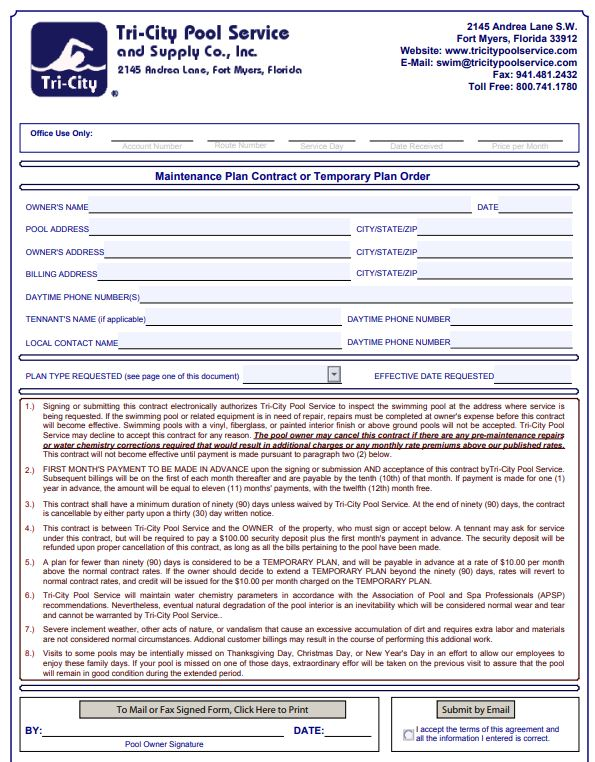 Swimming Pool Maintenance Contract Print In Pdf Sample