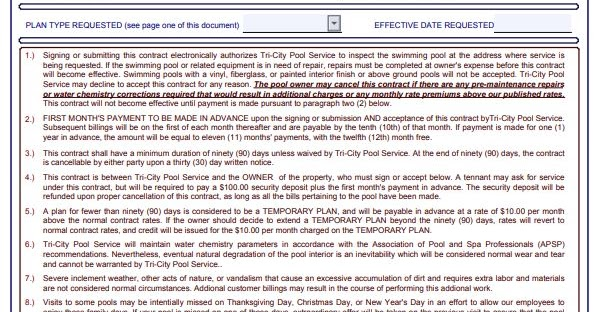 Swimming Pool maintenance contract print in pdf   All ...