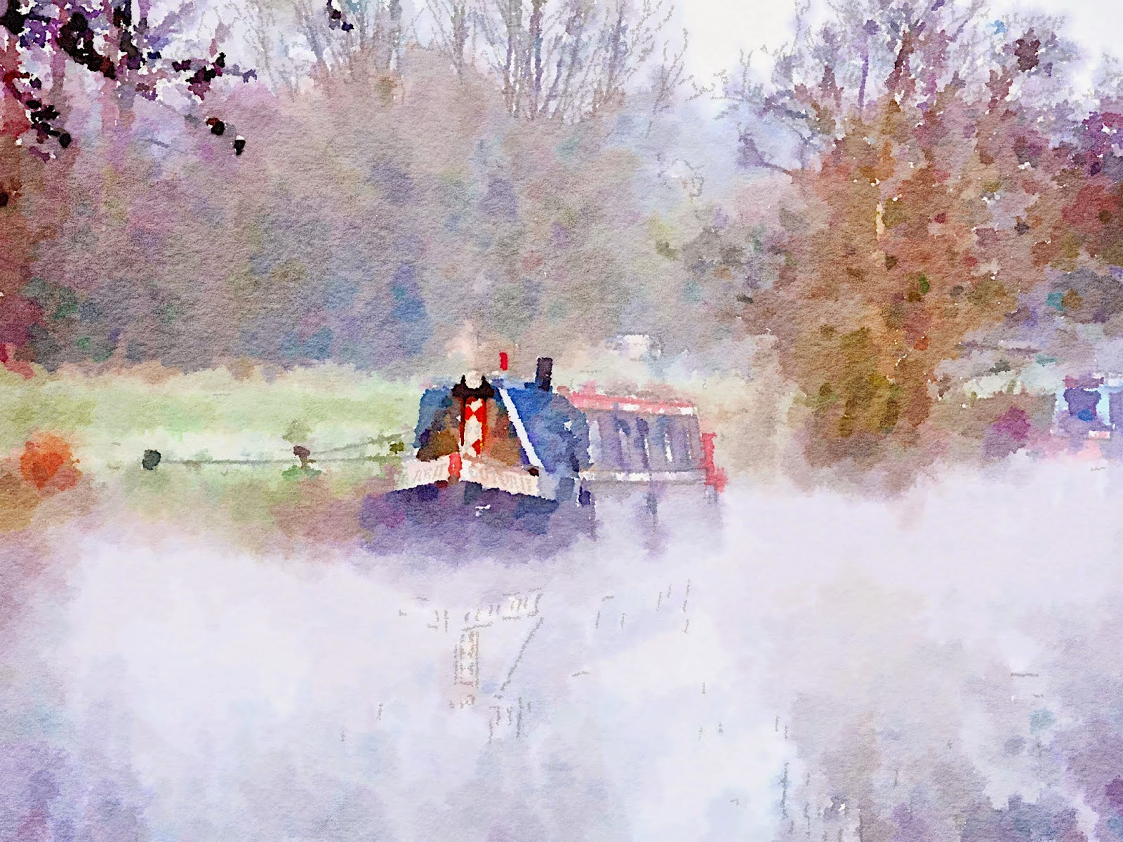 Narrowboat in the mist