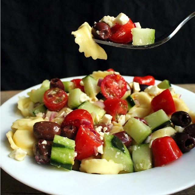 Greek Tortellini Salad served on a plate