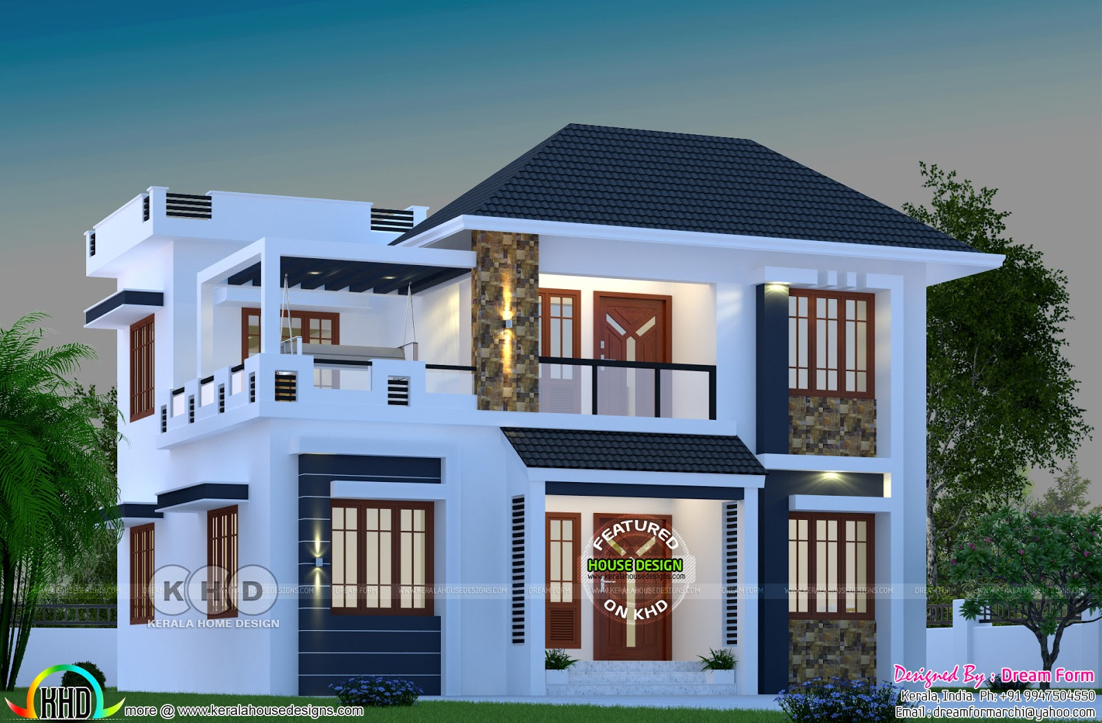 1744 square feet modern kerala home with 4 bedrooms - Khd Home Design