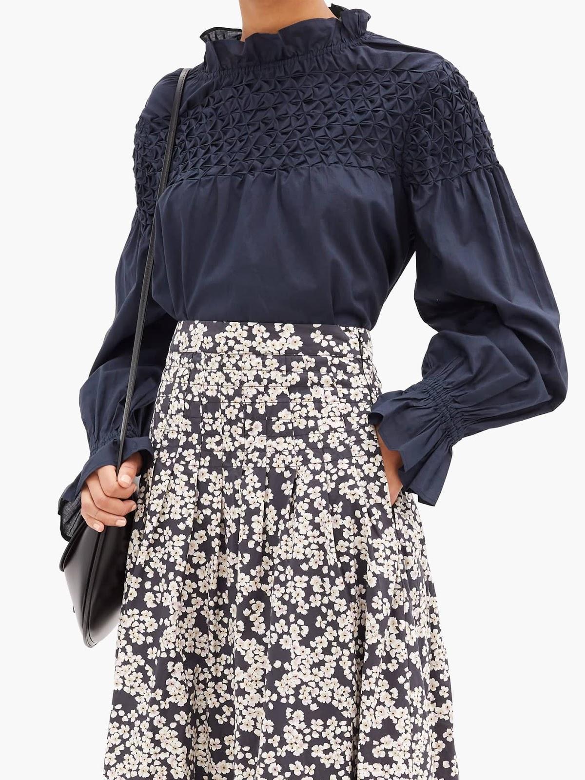 majorelle smocked blouse