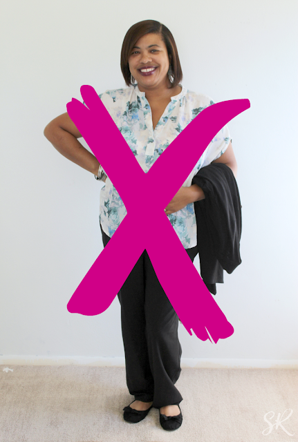 picture of a woman in frumpy clothes on with a large x on it