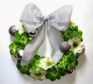 corona navidad blanco verde