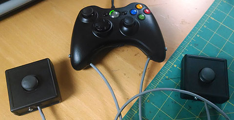 Adapted Xbox 360 Tentacular controller with external mini-joysticks.